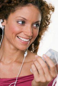 woman wearing headphones listening to music 2